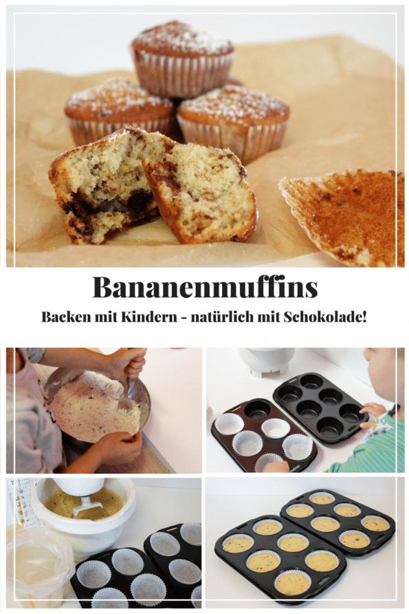 Was tun mit überreifen Bananen? Einfach Bananenmuffins backen. Natürlich mit Schokolade.