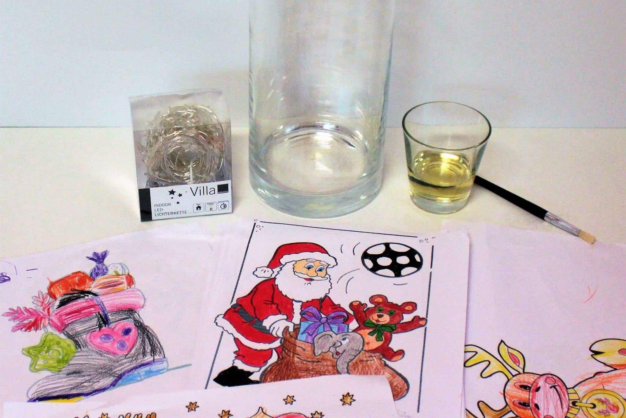 diy basteln mit kindern weihnachtliches windlicht kuchen kind und kegel. Black Bedroom Furniture Sets. Home Design Ideas