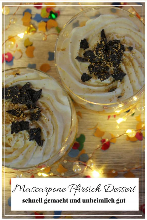Wenn du auf der Suche nach einem Rezept für ein schnelles Last Minute Dessert bist, findest du hier mein Mascarpone Pfirsich Dessert! Es ist schnell gemacht und unheimlich gut. Ob für Weihnachten, Silvester, Ostern, Geburtstage oder einfach so! Probiert es mal aus!