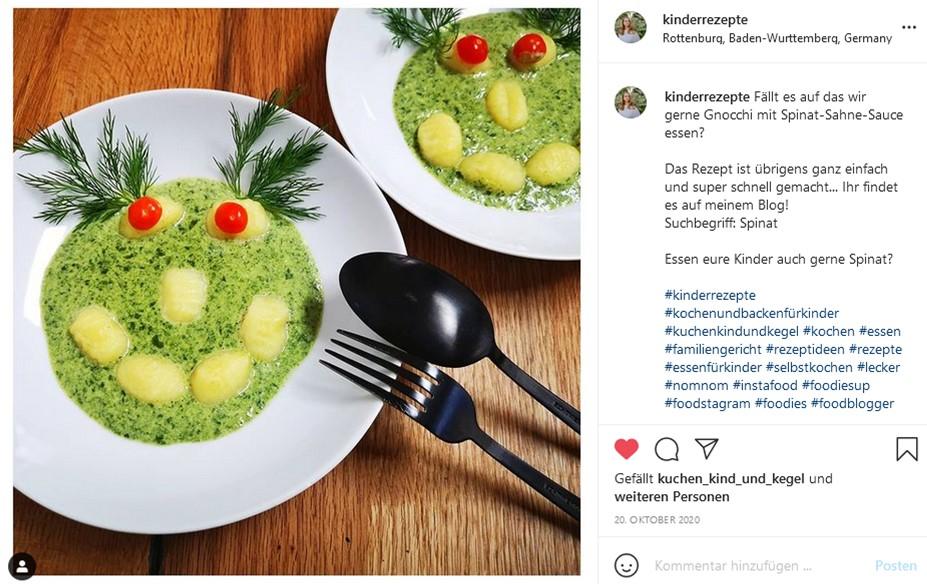 Gnocchi-mit-Spinat-Sahne-Sosse-Foodart-Foodart-fuer-Kinder-Kinderteller-Kinderteller-anrichten