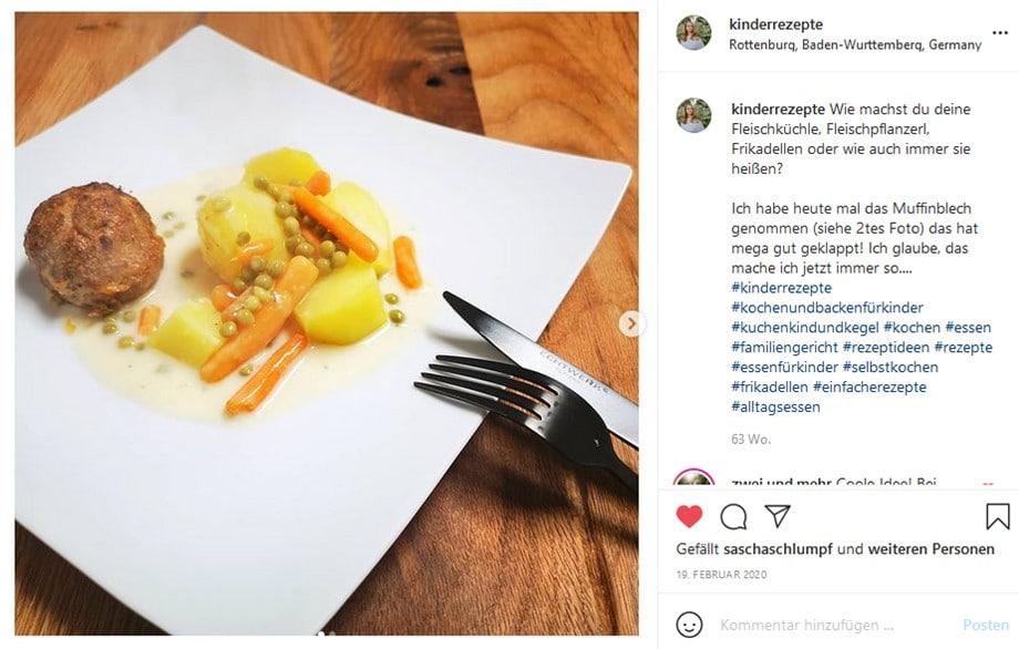 Kinderrezepte-Fleischküchle-Erbsen und Karotten Gemüse